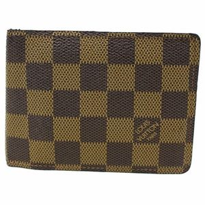 LOUIS VUITTON Multiple Damier Ebene Wallet Brown